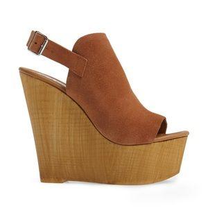 steve madden branded platform wedge sandal